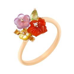 Золотое кольцо с бриллиантом, аметистом, сердоликом, хризолитом и цитрином 000102194