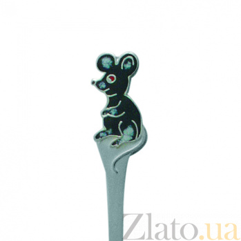 Серебряная чайная ложка с эмалью детская Мышка ZMX--1285_1110