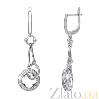 Изысканные серебряные серьги Клевер AQA--SK-SB049E