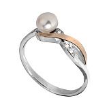 Серебряное кольцо Кармен с жемчугом и фианитами
