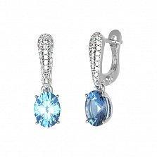 Серебряные серьги-подвески Бриджит с голубым кварцем и фианитами