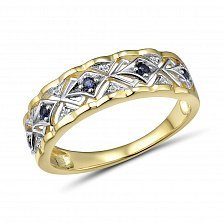 Кольцо из желтого золота Милагрос с бриллиантами и сапфирами