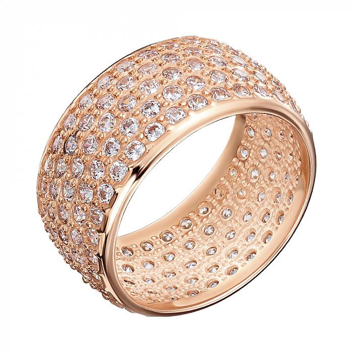 Кольцо из красного золота с фианитами 000000328 000000328