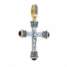 Серебряный крест Защитник в позолоте с ониксом
