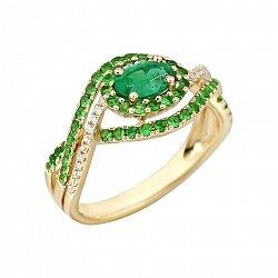 Золотое кольцо с изумрудом, цаворитами и бриллиантами Индонезия