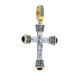 Серебряный крест Защитник в позолоте с ониксом 000044837