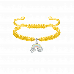 Детский плетеный браслет с эмалью и фианитами Радуга в облаках, 10х20см