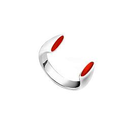 Серебряное кольцо Мида с разомкнутой шинкой и красной эмалью