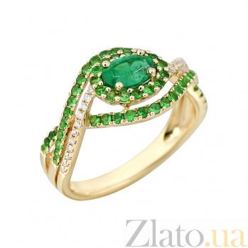Золотое кольцо с изумрудом, цаворитами и бриллиантами Индонезия 000029288