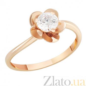 Золотое кольцо с фианитом Цветок 000022847