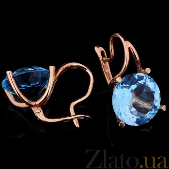 Золотые серьги с голубым топазом Айсберг 000026412