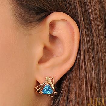 Золотые серьги Триолетте с голубыми фианитами EDM--С069Г