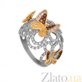 Кольцо из белого и желтого золота Полет бабочек с фианитами VLT--ТТТ1142