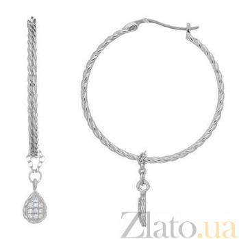 Серебряные серьги-кольца с подвеской Алина AQA--XJT-0130-E-L