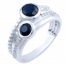 Серебряное кольцо Мгелика с сапфирами и фианитами