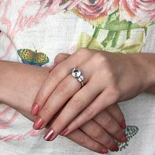 Кольцо из белого золота с аквамаринами Вероника