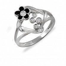 Кольцо из белого золота Ночная ромашка с бриллиантами и черной эмалью