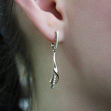 Золотые серьги-подвески с бриллиантами Мариэлла