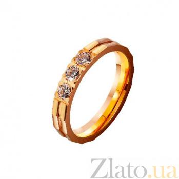 Золотое обручальное кольцо Тобой дышу с фианитами TRF--4122177