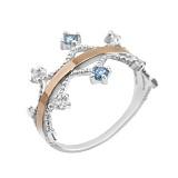 Серебряное кольцо с золотой вставкой и фианитами Мелисента