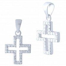 Серебряный крестик Греческий с фианитами