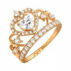 Кольцо-корона из красного золота с фианитами 000071585
