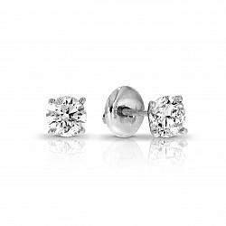 Серьги-пуссеты в белом золоте Одри с бриллиантами
