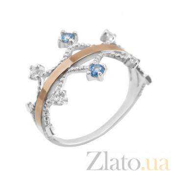 Серебряное кольцо с золотой вставкой и фианитами Мелисента BGS--829к