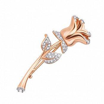 Золота брошка у комбінованому кольорі з фіанітами 000125631
