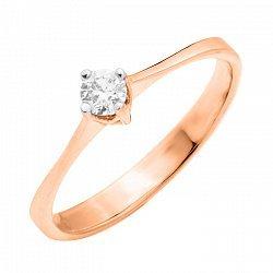Кольцо в красном золоте с бриллиантом 000104565