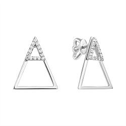 Золотые серьги-джекеты Треугольный бум в белом цвете с фианитами