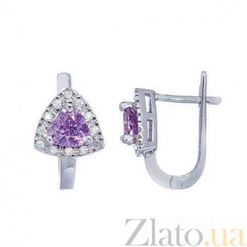 Серебряные серьги с фиолетовым цирконием Матиола AQA--MS-151(S)-EA