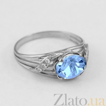 Золотое кольцо с голубым топазом и фианитами Айла VLN--112-137-1**