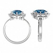 Золотое кольцо Миллениум с лондон топазом и бриллиантами