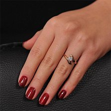 Золотое кольцо Луиза с фианитом