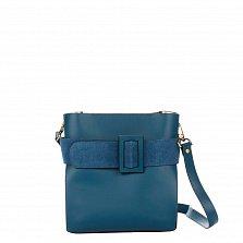 Деловая сумка из кожи и замши Genuine Leather 8821 синего цвета с декоративной пряжкой, на молнии