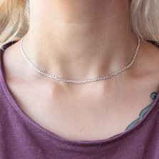 Серебряная цепь Литания в плетении барли (панцирном с перемычками) и алмазной гранью, 2мм