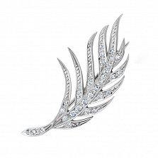 Серебряная брошка Пальмовый лист с дорожками и белыми фианитами