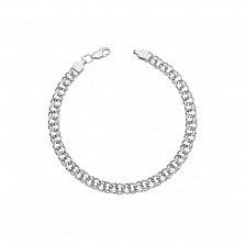 Серебряный родированный браслет Бисмарк с алмазной гранью, 4 мм