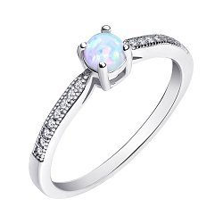 Серебряное кольцо с опалом и фианитами 000139617