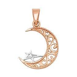Золотой кулон Мусульманский полумесяц со звездой в комбинированном цвете с фианитом 000071381