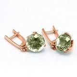 Золотые серьги Азиза с зелеными аметистами