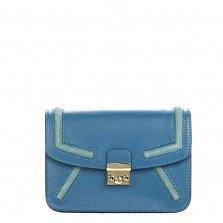 Кожаный клатч Genuine Leather 1603 темно-голубого цвета с металлическим замком и плечевым ремнем