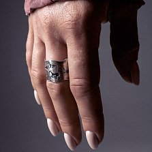 Серебряное кольцо Hunt с широкой черненой шинкой и животными