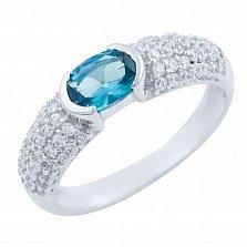 Серебряное кольцо Радия с синтезированным топазом лондон и фианитами
