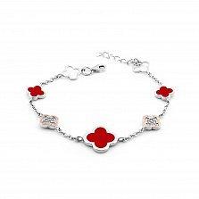 Серебряный браслет Марисоль с золотыми накладками, красной эмалью и фианитами