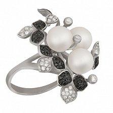 Кольцо из белого золота с жемчугом и фианитами Эвелина