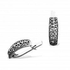 Серебряные серьги Ефимия с фианитами и чернением