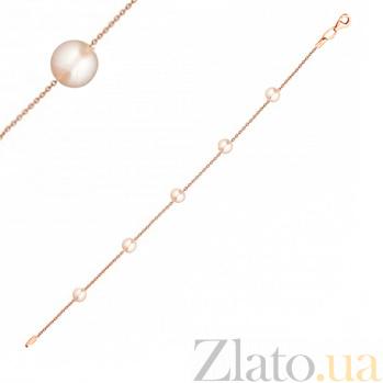 Золотой браслет Капли шарма в красном цвете с белым жемчугом 000022990