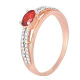 Серебряное кольцо Шеннон с красным фианитом